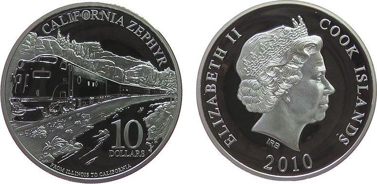 10 Dollar 2010 Cook Inseln Ag California Zephyr, Fernzug von Amtrak pp