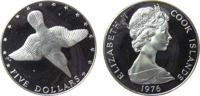 5 Dollar 1976 Cook Inseln Ag Elisabeth II, Königfischer, etwas berieben, kleine Flecken pp