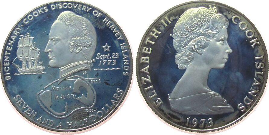7 1/2 Dollar 1973 Cook Inseln Ag Cook, 2. Weltumseglung, Entdeckung der Hervey Inseln, Segelschiff, etwas fleckig, angelaufen pp