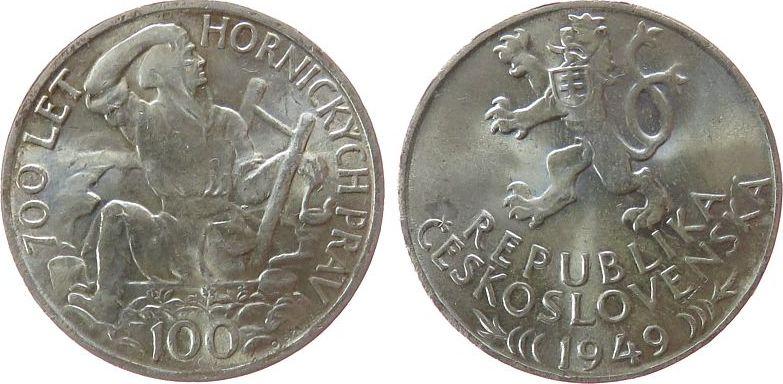 100 Korun 1949 Tschechoslowakei Ag Bergmann unz