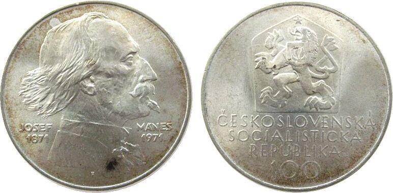 100 Korun 1971 Tschechoslowakei Ag Manes unz
