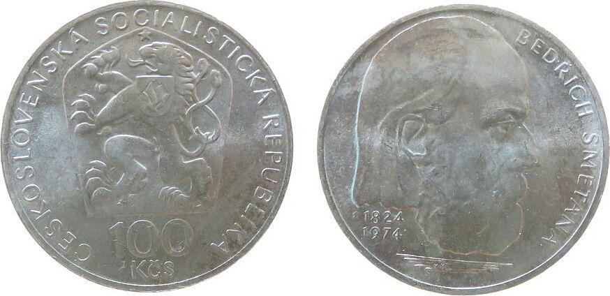 100 Korun 1974 Tschechoslowakei Ag Smetana vz-unc