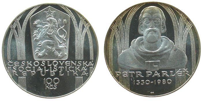 100 Korun 1980 Tschechoslowakei Ag Petr Parler pp