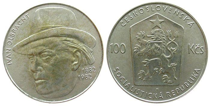 100 Korun 1982 Tschechoslowakei Ag Olbracht vz-unc