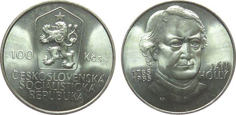 100 Korun 1985 Tschechoslowakei Ag Jan Holly unz