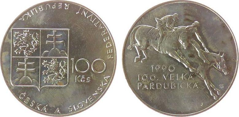 100 Korun 1990 Tschechoslowakei Ag Hindernisrennen unz