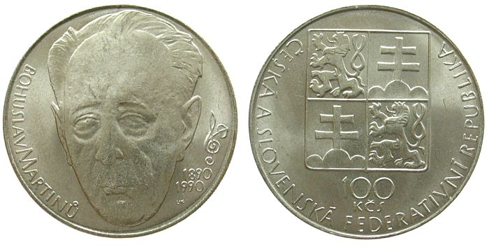100 Korun 1990 Tschechoslowakei Ag Bohuslav Martinu unz