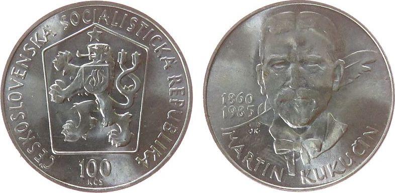 100 Korun 1985 Tschechoslowakei Ag Martin Kukucin unz
