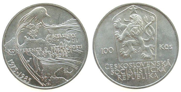 100 Korun 1985 Tschechoslowakei Ag Konferenz von Helsinki unz