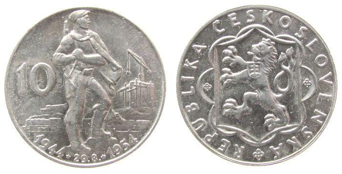10 Korun 1954 Tschechoslowakei Ag Slowakischer Nationalaufstand vz-unc