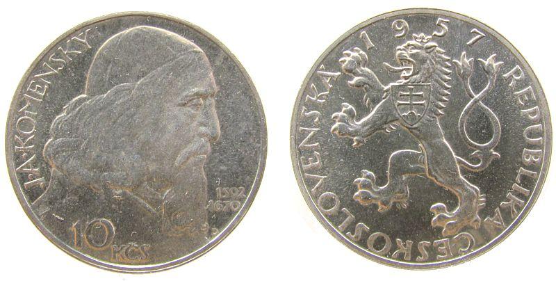 10 Korun 1957 Tschechoslowakei Ag Komensky pp