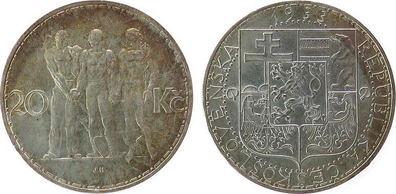 20 Korun 1933 Tschechoslowakei Ag Statuengruppe ss-vz
