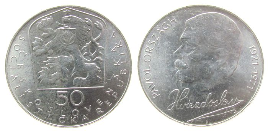 50 Korun 1971 Tschechoslowakei Ag Orszagh vz-unc