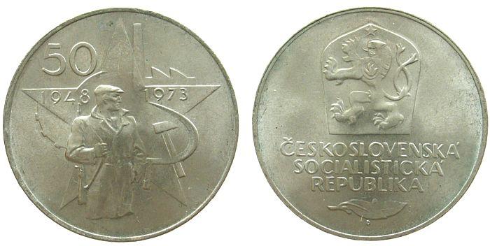 50 Korun 1973 Tschechoslowakei Ag Februarputsch vz-unc