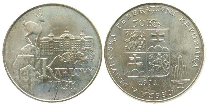 50 Korun 1991 Tschechoslowakei Ag Karlsbad unz