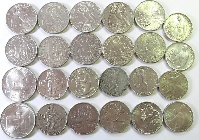 475 Korun 1948 - Tschechoslowakei Ag Lot zu 10 Münzen, im Durchschnitt ss - einige wenige vz ss bis vz