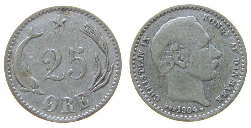 25 Öre 1904 Dänemark Ag Christian IX fast ss
