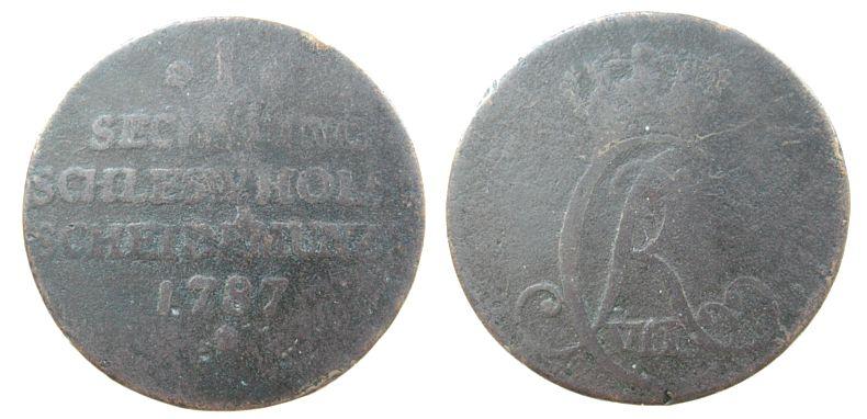1 Sechsling 1787 Dänemark Ku Prägung für Schleswig Holstein s