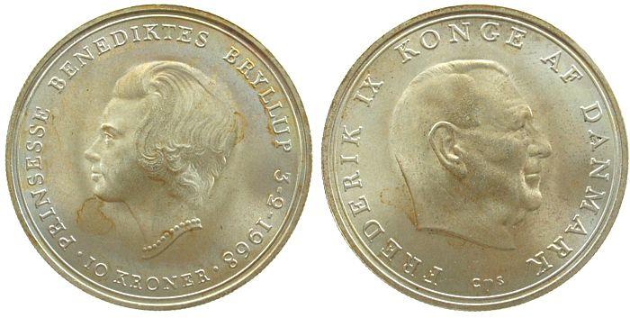 10 Kronen 1968 Dänemark Ag Hochzeit Benedikte, Patina stgl