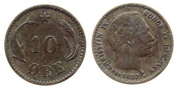 10 Öre 1897 Dänemark Ag Christian IX s