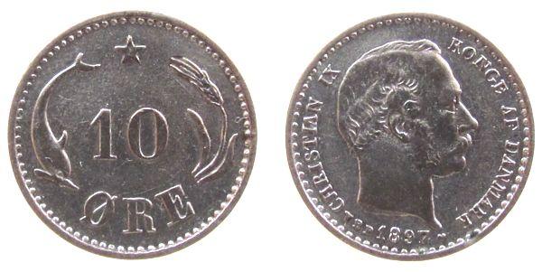10 Öre 1897 Dänemark Ag Christian IX, gereinigt ss