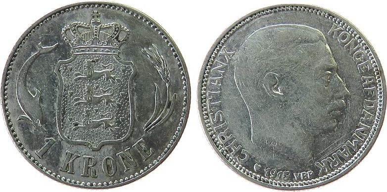 1 Krone 1915 Dänemark Ag Christian X, Sieg 71 vz