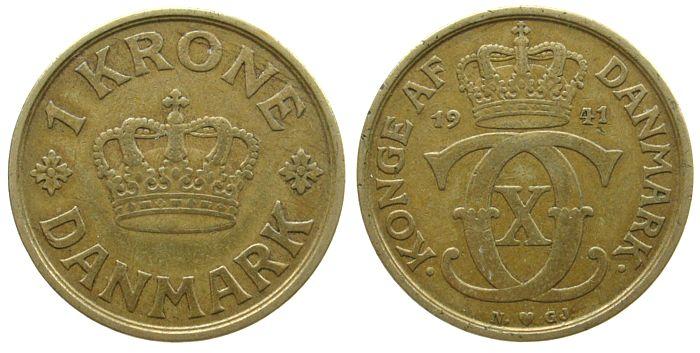 1 Krone 1941 Dänemark AlBr Christian X ss