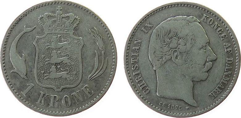 1 Krone 1875 Dänemark Ag Christian IX s-ss