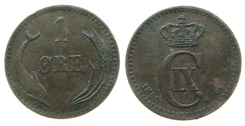 1 Öre 1880 Dänemark Br Christian IX ss