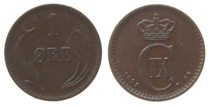 1 Öre 1891 Dänemark Br Christian IX, kl.Einhieb vz