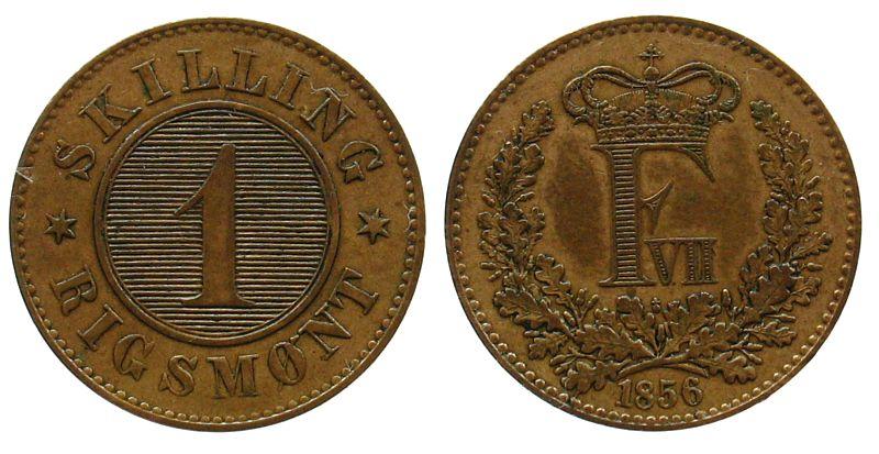 1 SRM 1856 Dänemark Br Frederik VII,Skillingrigsmont, Siegs 9 ss-vz