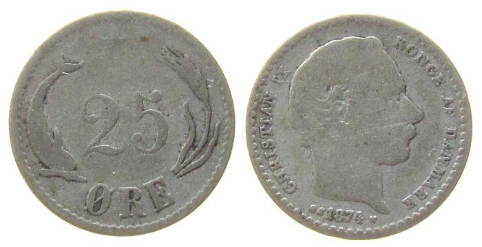 25 Öre 1874 Dänemark Ag Christian IX fast ss