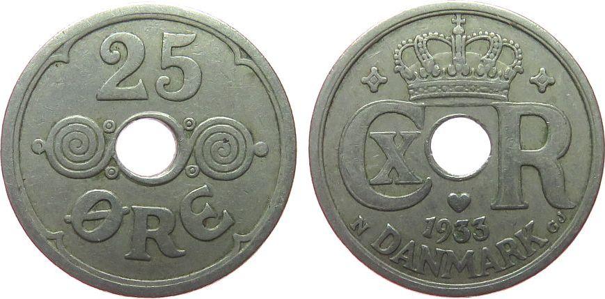 25 Öre 1933 Dänemark KN Christian X, seltener ss