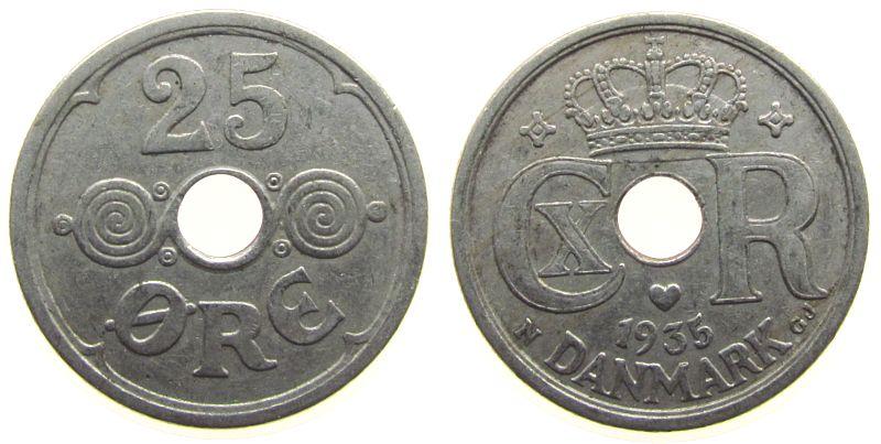 25 Öre 1935 Dänemark KN Christian X ss