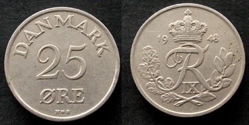 25 Öre 1948 Dänemark KN . ss