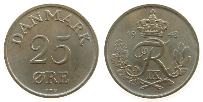 25 Öre 1948 Dänemark KN Frederik IX vz-unc