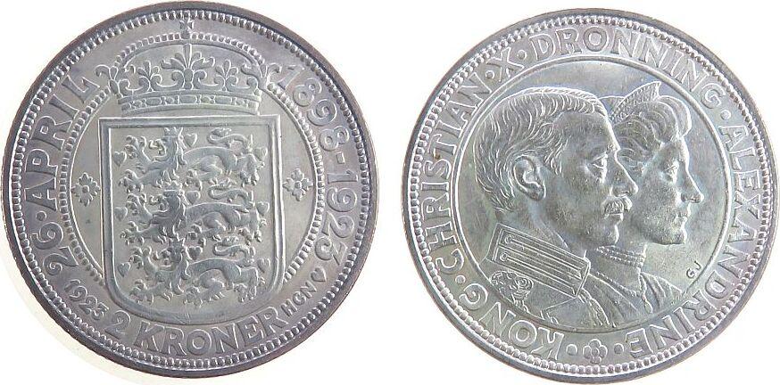 2 Kronen 1923 Dänemark Ag Christian X, Silberhochzeit vz