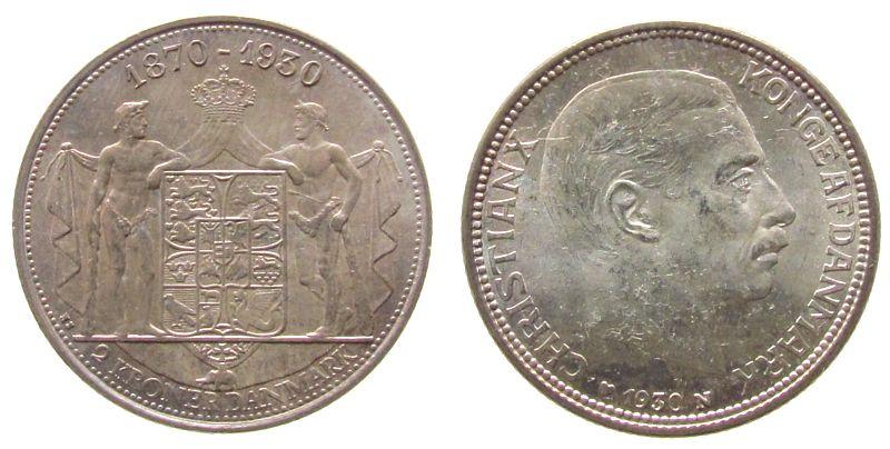 2 Kronen 1930 Dänemark Ag 60.Geburtstag Christian X, Patina stgl-