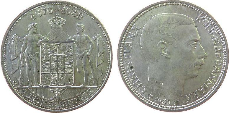 2 Kronen 1930 Dänemark Ag 60.Geburtstag Christian X vz