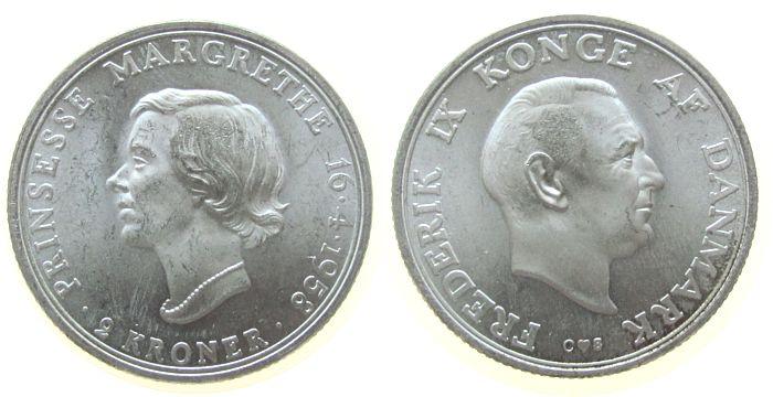 2 Kronen 1958 Dänemark Ag 18.Gebursttag Prinzessin Margarethe unz