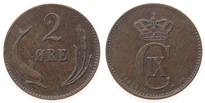 2 Öre 1874 Dänemark Br Christian IX, Kratzer ss