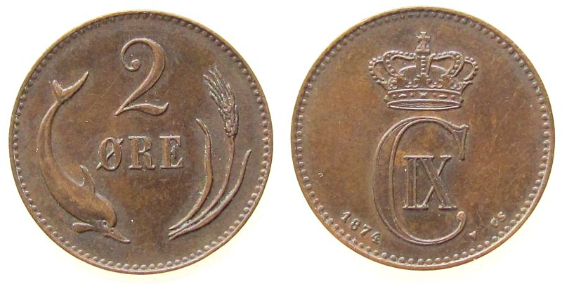 2 Öre 1874 Dänemark Br Christian IX ss-vz