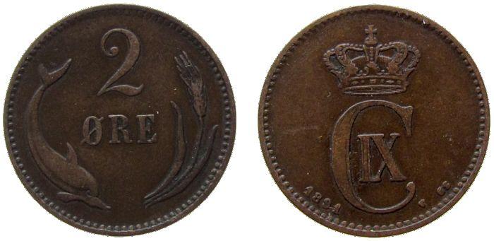 2 Öre 1891 Dänemark Br Christian IX ss