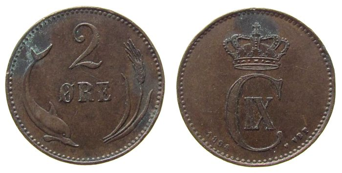 2 Öre 1894 Dänemark Br Christian IX ss