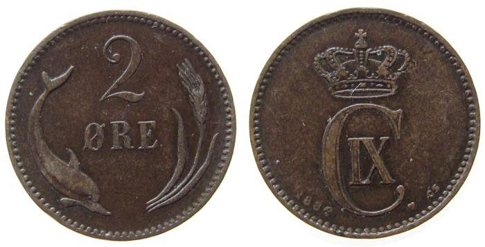 2 Öre 1899 Dänemark Br Christian IX, CS ss