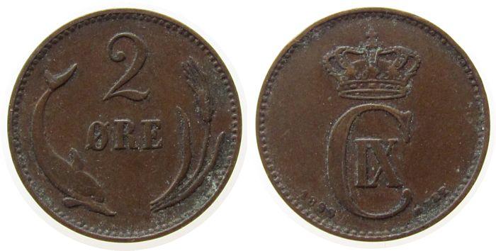 2 Öre 1899 Dänemark Br Christian IX, VBP, kleine Randfehler ss
