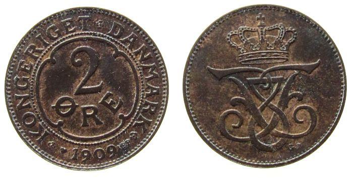 2 Öre 1909 Dänemark Br Frederik VIII ss