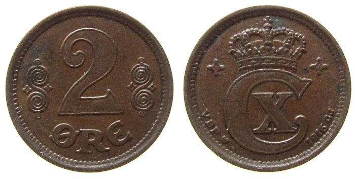 2 Öre 1916 Dänemark Br Christian X ss