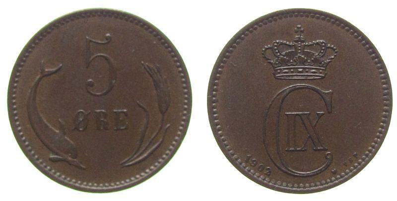 5 Öre 1902 Dänemark Br Christian IX, Sieg 18.2 vz