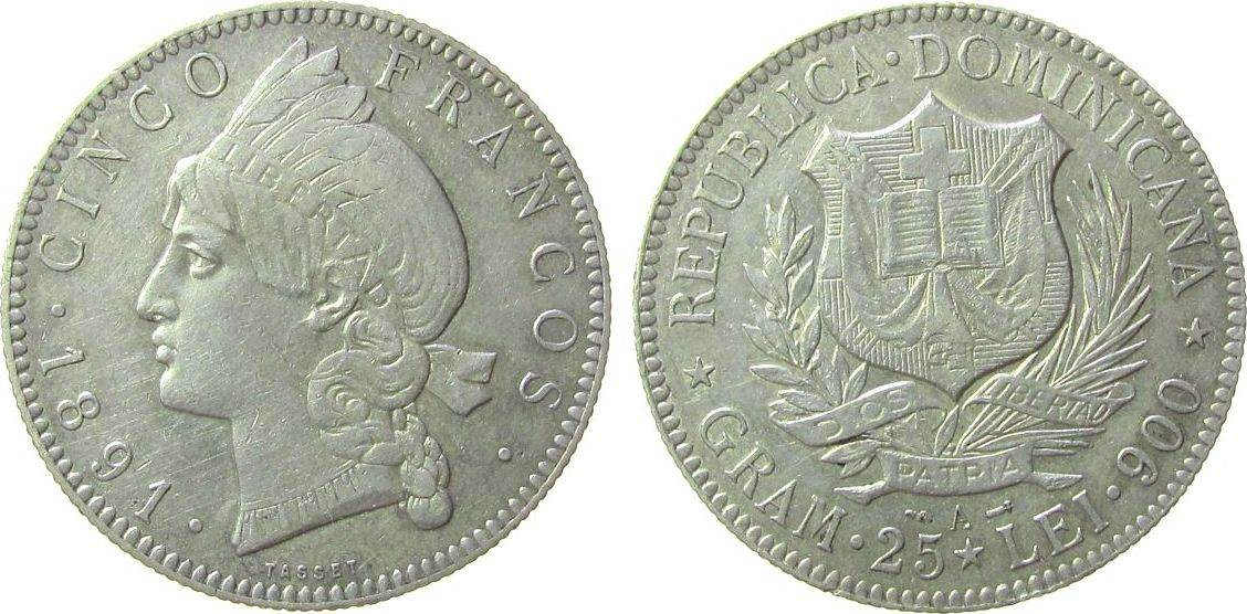 1 Peso 1891 Dominikanische Republik Ag Indianerin, ca. 24,90 Gramm ss+